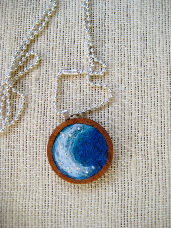 Little Cresting Wave: Needle Felted Pendant in Handmade Wood Bezel 25mm Silver Plated Ball Chain Ocean Jewelry