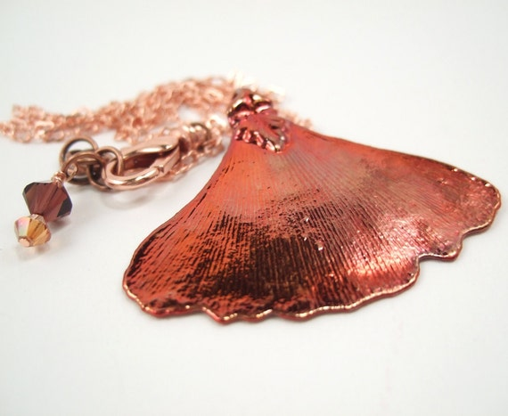 Copper Plated Gingko Leaf Pendant Necklace, Copper Dipped Leaf Pendant, Gingko Leaf Necklace