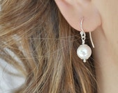 Pearl Drop Earrings, Dainty Wedding Earrings. Flowergirl Earrings.