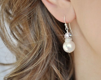 Drop Pearl Earrings, Wedding Jewelry Earrings, Pearl Wedding Jewelry, Bridal Jewellery