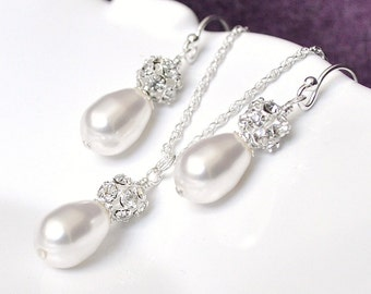 Wedding Jewelry SET, Pearl Wedding Jewelry SET, Art Deco Wedding Jewelry, Pearl and Rhinestone Wedding Jewellery