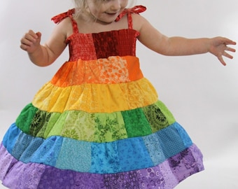 Rainbow Dress - Toddler/Girls Patchwork Smocked Twirl Sundress - 12m, 18m, 2T, 3T, 4T, 5, 6