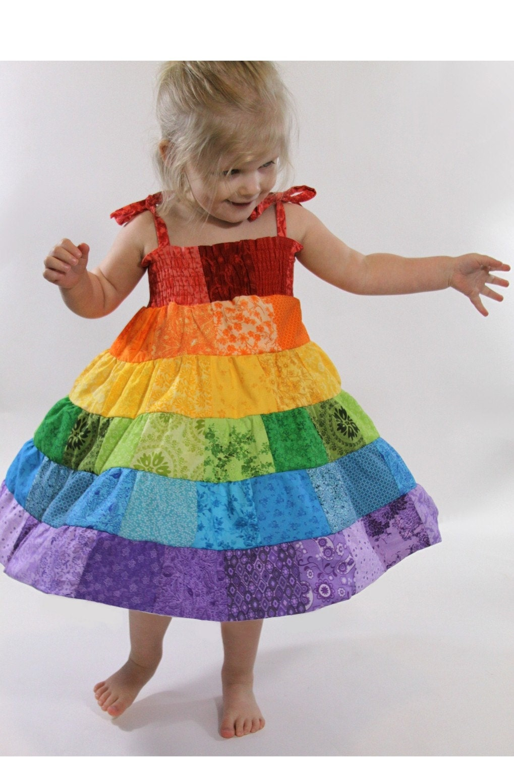 Rainbow Dress Toddler/Girls Patchwork Smocked Twirl Sundress