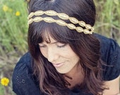 Double Natalie - Gold and Rhinestone Beaded Tie Headband or Halo