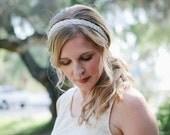 Beaded and Pearl Bridal Tie Headband or Halo