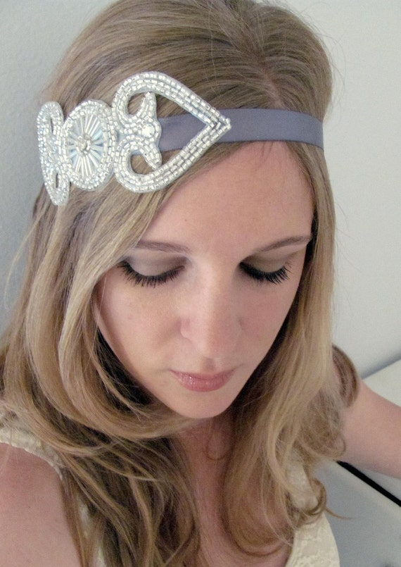 The Norma - Sparkling Silver and Tie Headband or Halo
