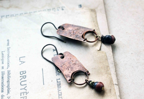 Archaïc Code earrings distressed aged metal ethnic inspired handmade by LucieTales