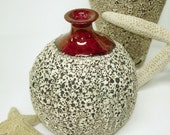 Ceramic Textured Bottle Bud Vase - Flower Vase - Wheel thrown Pottery Round with Red Crackle Lip