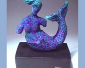 Mermaid Sculpture ART Nautical Home Decor Amethyst Purple Dreamy Clay Sculpture on a wooden base / Beach Ocean Home