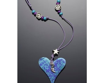 Crescent Moon, Star, Ceramic Heart Necklace Purple Blue Silver Plated Celestial Galaxy Handmade love romantic mood Jewelry Love gift for her