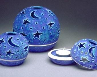 Candle Holder lantern handmade Modern Patio Outdoor Garden Home Decor luminary Ceramic Pottery boho chic Tealight holder Star Moon Blue