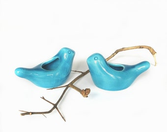 TWO Ceramic Birdies candle holder / air plant planter Spring Table Setting Cottage Decor Blue Turquoise modern fresh home gift under 20