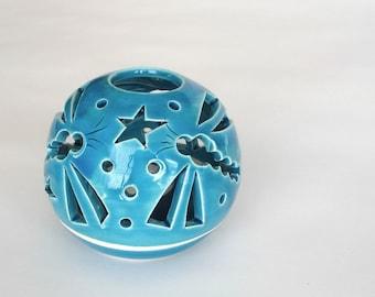 Luminary, Ceramic Votive Holder, Robin's egg turquoise, Dragonfly Candilerias, Handmade Ceramics Christmas Gift Wedding favors IN STOCK