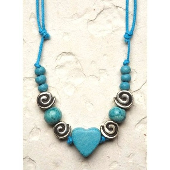 Turquoise Ceramic Heart Necklace Holiday gift Fashion colorful modern chic blue December trends