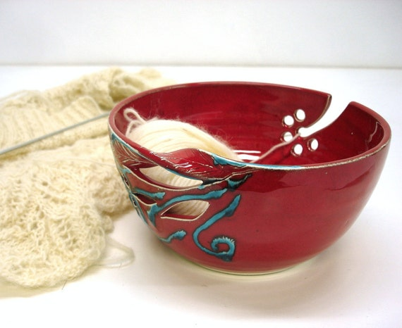 "Red Yarn Bowl, Large 8"" Knitting bowl, Yarn Organizer Crochet Bowl Handmade Ceramic Pottery, Twisted Leaf turquoise decor, Xmas knitter gift"