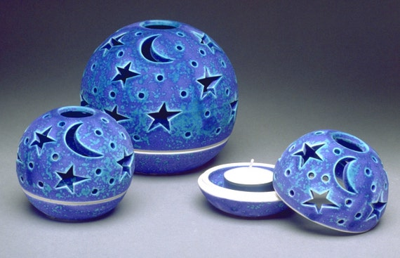 Pottery lantern Candle Holder Modern Patio Outdoor Garden Home Decor Handmade luminary Ceramic boho chic Tealight holder Star Moon Blue