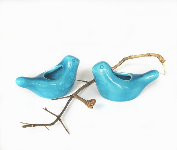 TWO Ceramic Birdies candle holder / air plant planter HolidaysTable Setting Cottage Decor Blue Turquoise modern fresh home gift under 20