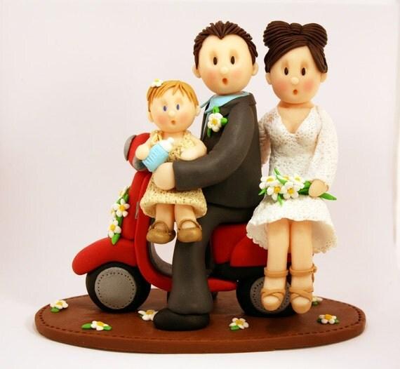 DEPOSIT - Vespa Motorbike Bicycle Custom Wedding Cake Topper