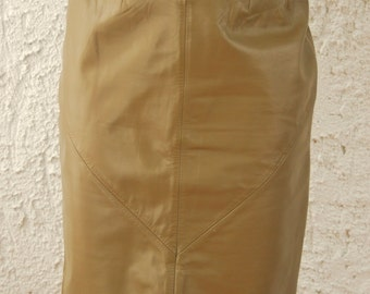 SALE- 1970s Wilsons Brown Leather Pencil Skirt - sz 8 - XS/S