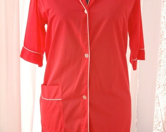 Vintage 1960s Hot Melon Nylon Nighty - Sleep Shirt - S/M - Valentines Day