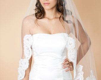 Elena -  Fingertip Length Single Tier Veil Edged With Alencon Lace, Wedding Veil, Bridal Veil