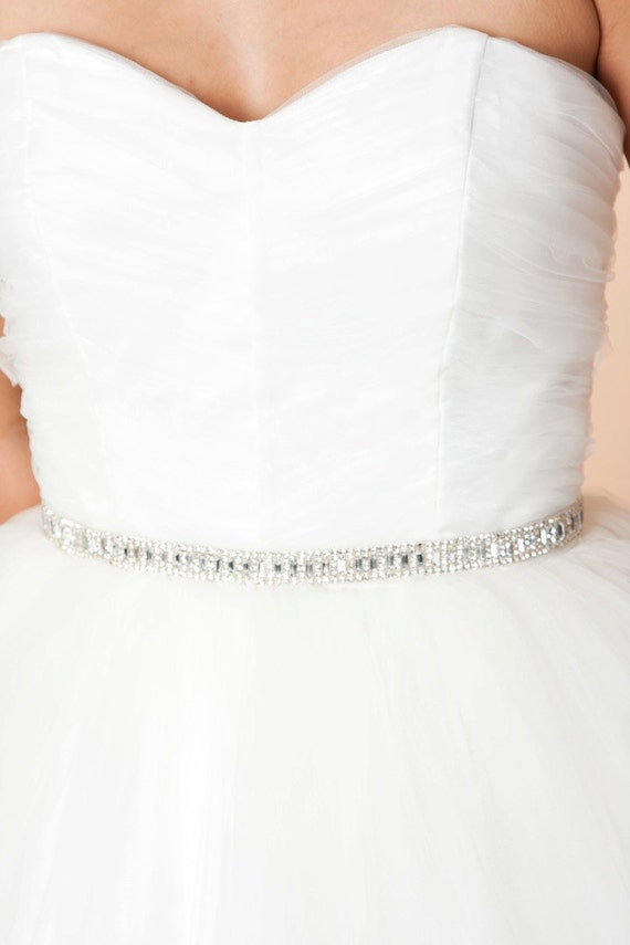 Sample Sale, Maya - Rhinestone Baguette Sash, Wedding Sash, Bridal Belt. Wedding Belt, Sash, 402