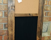 Custom message board with Chalkboard and Cork board with pocket for mail or papers