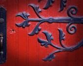 Red door, Fine Art Photography, Curlique ironwork, wood abbey door, religious, vintage door, welcome,