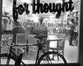 Black and White Art Photo, Coffee Shop, grounds for thought, coffee, book shop, bike, friendly place, Bowling Green, Ohio