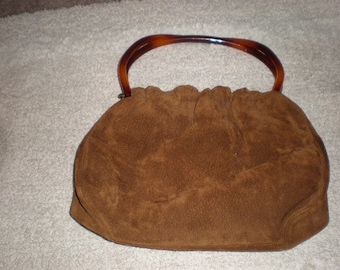 Vintage Suede Purse, Morris Moskowitz, Brown Suede, Lucite Handle