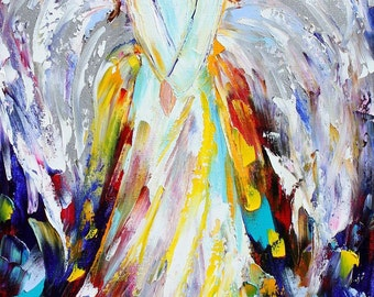 """Angel of Hope and Light 18"""" x 36"""" Giclee Print on canvas made from image of Original painting by Karen Tarlton fine art"""