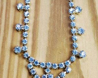 Blue vintage rhinestone princess bridal necklace