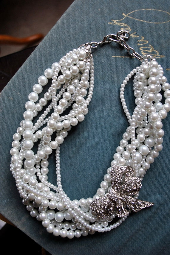 Multi Strand Pearl Twist Statement Necklace with Rhinestone Bow Brooch-made to order