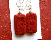 SALE Carved Red Cinnabar Earrings Chinese New Year Vintage Asian Inspired 14kt Gold Filled Wires Birthday Anniversary Valentine Woman's Gift