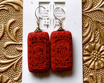 Carved Red Cinnabar Earrings Chinese New Year Vintage Asian Inspired 14kt Gold Filled Wires Birthday Anniversary Valentines Day Woman's Gift