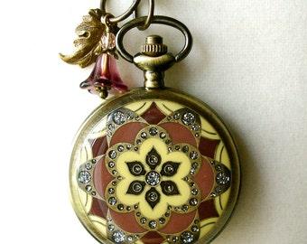 Pocket Watch Necklace Set Old Rose Burgundy Watch Locket Pendant & Earrings Boho Floral Mandala Lotus Buddhist Wedding Anniversary Birthday