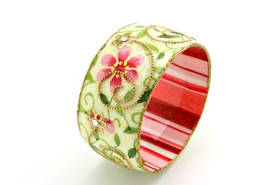 Bangle - Bangle Bracelet - Resin Bangle - Enamel Bangle - Colorful Bangle - Wide Bangle - Resin Bracelet - Wide Bracelet - Retro Bangle