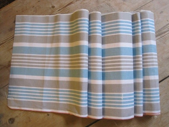 Gorgeous French vintage mattress ticking fabric in turquoise, grey and white stripes