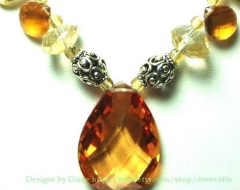Citrine and Lemon Quartz Necklace with Sterling Bali beads and Toggle Closure