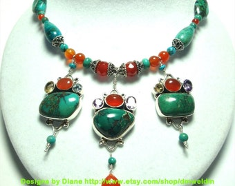 Turquoise Necklace Turuoise Designer Necklace Turquoise Nugget Necklace with Carnelian and Faceted Gemstones in Sterling
