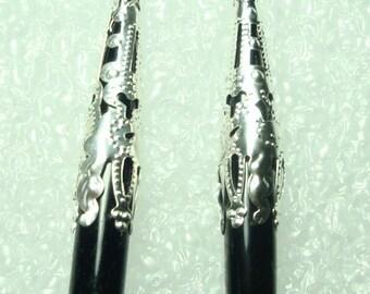 Back Onyx Earrings Black Onyx Gemstone Long Dangle Earrings with Silver Filigree Bead Caps