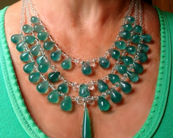 Emerald Green Onyx Teardrops Necklace Green Onyx Bib Collar Emerald Green Onyx Drops on 3-Strand Statement Bib Necklace with Sterling