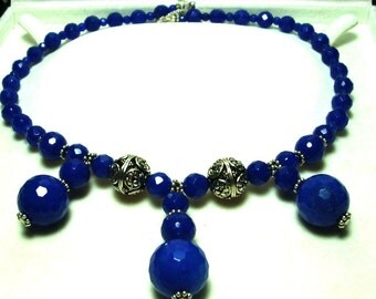 Cobalt Blue Agate Bib Necklace Faceted Blue Agate Necklace with Sterling Bali and Toggle Close