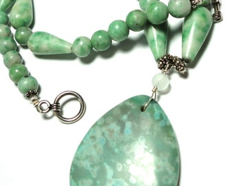 Aqua Ocean Jasper Necklace with Green Ching Hai Jade and Aqua and Green Ocean Jasper Pendant with Sterling