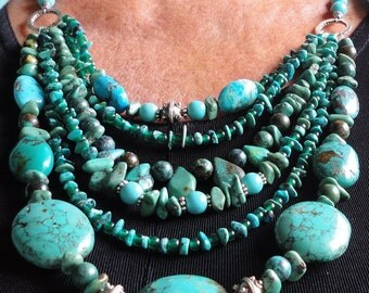 Turquoise Necklace Real Turquoise Bib Collar Statement Necklace 6 Strand Genuine Turquoise Nugget Designer Necklace with Sterling