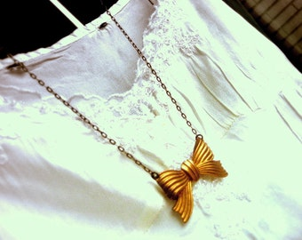 my little bow...a brass ribbon bow vintage necklace