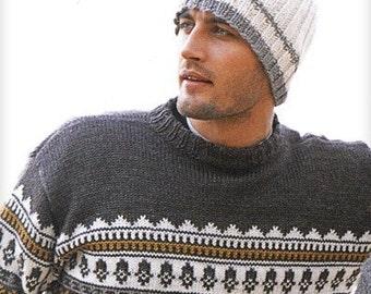 Knit mens hat. Mens beanie. Handmade. Unisex beanie. Off White wool. Brown stripes. Valentine's gift under 50. Skiing snowboarding.