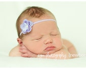 Lilac Headband with Pearl Center...Purple Flower baby headband...Baby headband...Baby flower headband