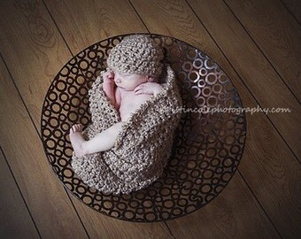 Hat and Cocoon Cozy Newborn Baby Photo Prop in Smoky Beige - Photo shoot All Babies Handmade by MaryYarns