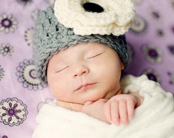 HAT Flower in Gray, Photography HAT Newborn, Baby Flower Hat, Gift Baby Shower Hat, Newborn Baby Hat, Beanie Flower Hat Photo prop, Baby Hat